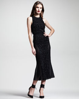 Wes Gordon Fringed Contour Dress