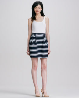 Nanette Lepore Ka Pow! Pleated Striped Skirt