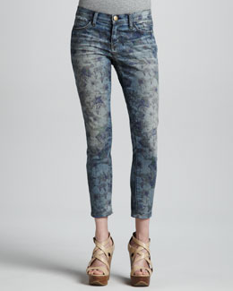 Current/Elliott The Low Rise Burnt Floral Stiletto Jeans