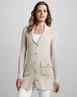 Tory Burch Tania Long Knit Cardigan, Poundcake