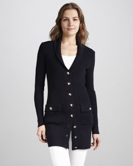 Tory Burch Tania Long Knit Cardigan, Navy