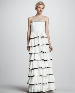 Alice + Olivia Aurora Strapless Tiered Gown