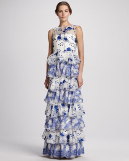 Alice + Olivia Dahlia Tiered Lace Gown