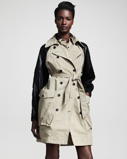 Rag & Bone Bishop Leather-Sleeve Trenchcoat