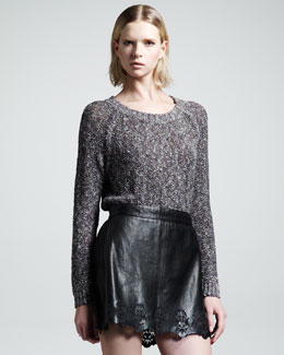 Rag & Bone Paris Laser-Cut Leather Skirt