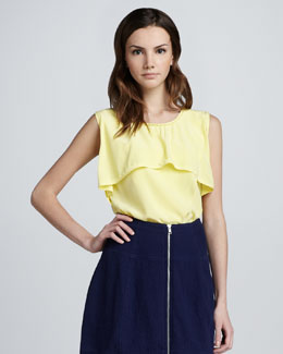Cut25 Ruffled-Yoke Top