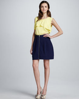 Cut25 Zip-Front Textured Skirt