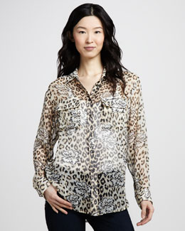 Equipment Leopard-Floral Print Silk Top