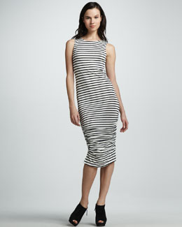 Alice + Olivia Ruched Striped Tank Dress