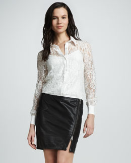 Haute Hippie Asymmetric-Zip Leather Skirt