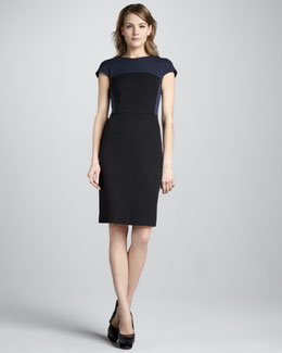 Theory New Recovery Two-Tone Dress, Dark Navy
