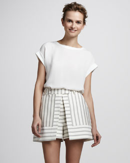 Theory Nyos Striped Skirt-Shorts