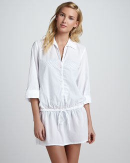 Splendid Drawstring Button-Down Tunic, White
