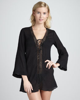 Miguelina Lara Lace-Up Gauze Coverup