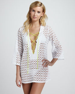 Miguelina Fran Lace-Up Eyelet Coverup