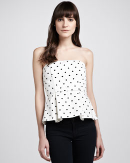 Alice + Olivia Sinclair Strapless Polka-Dot Peplum Top