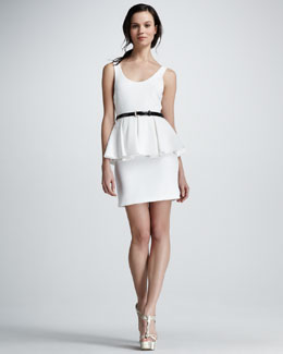 Alice + Olivia Moira Belted Peplum Dress