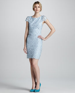 Alice + Olivia Clover Eyelet Open-Back Lace Dress
