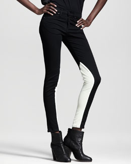 rag & bone/JEAN Jodhpur Leather-Panel Skinny Jeans