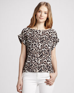 Alice + Olivia Caprina Leopard-Print Top