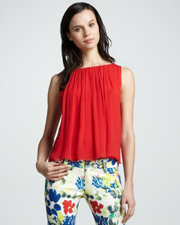 Alice + Olivia Gathered Sleeveless Tank