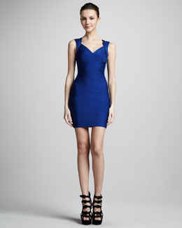 Herve Leger Crisscross Open-Back Bandage Dress