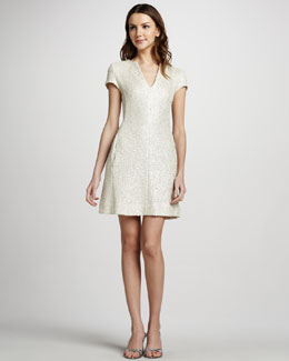 L'Agence Shimmer Tweed Cap-Sleeve Dress
