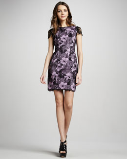 L'Agence Lace Overlay Cap-Sleeve Dress
