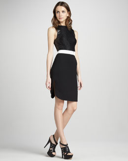 L'Agence Leather-Trim Sheath Dress