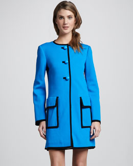 Nanette Lepore Long Piped Duster Coat, Blue Sky