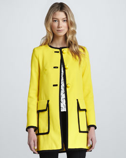Nanette Lepore Piped Long Duster Coat, Sunshine/Black