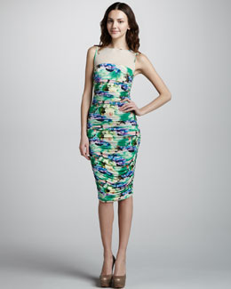 Catherine Malandrino Mesh and Ruching Floral Dress