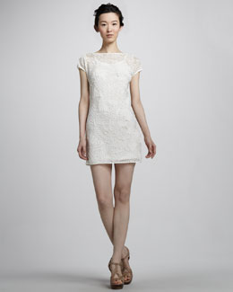 Catherine Malandrino Cap-Sleeve Nylon Fishnet Dress