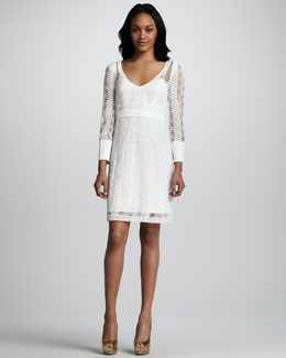 Catherine Malandrino Cord Embroidery Bracelet Sleeve Dress