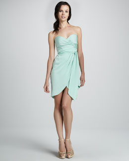 Catherine Malandrino Strapless Charmeuse Mock-Wrap Dress