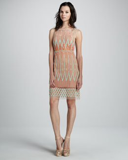 Catherine Malandrino Embroidered Sleeveless Dress