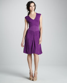Catherine Malandrino Mixed-Knit Pointelle A-Line Dress
