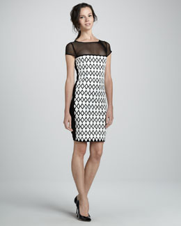 Catherine Malandrino Illusion Dress with Mesh & Cutouts