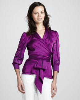 Catherine Malandrino Wrap Blouse with Cutout Sleeves