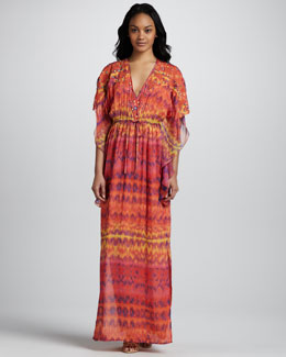 Catherine Malandrino Embellished Caftan Maxi Dress