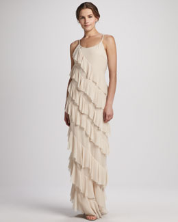 Alice + Olivia Aria Ruffled Tiered Gown