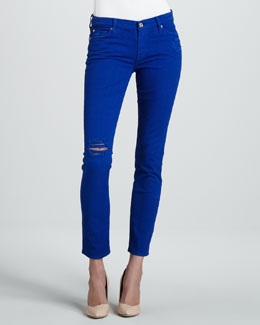 7 For All Mankind Destroyed Cigarette Jeans, Electric Blue