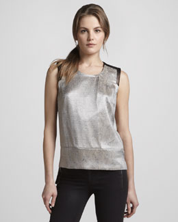 J Brand Ready to Wear Geena Metallic Snake-Print Top