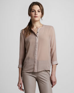 J Brand Ready to Wear Juliette Sheer Chiffon Blouse
