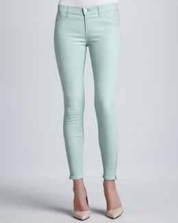 J Brand Jeans L8001 Leather Skinny Jeans, Mint