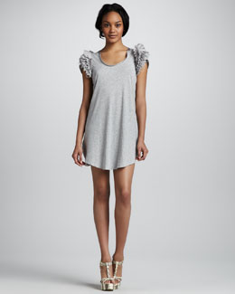 Skaist Taylor Short-Sleeve Ruffled-Shoulder Dress