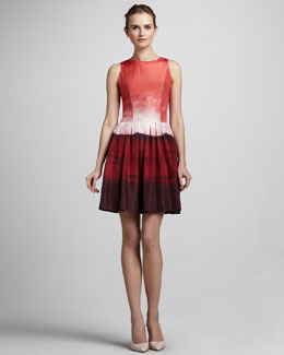 Skaist Taylor Georgia Ombre Taffeta Tie-Back Dress