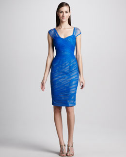 Monique Lhuillier Asymmetric Ruched Cocktail Dress