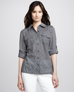 Tory Burch Brigitte Tab Sleeve Blouse