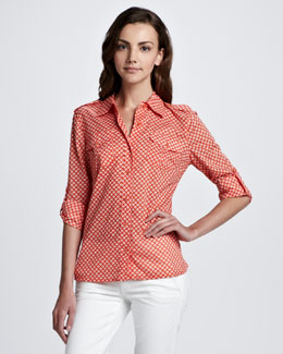 Tory Burch Brigitte Tab-Sleeve Printed Blouse